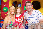 Laura, Alana and Ger Hanly, at the bouncy castle at the Rose of Tralee festivities at Pearse Park  on Friday.