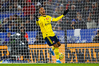 9th November 2019; King Power Stadium, Leicester, Midlands, England; English Premier League Football, Leicester City versus Arsenal; Pierre-Emerick Aubameyang of Arsenal appeals to the assistant referee after a goal is disallowed for offside - Strictly Editorial Use Only. No use with unauthorized audio, video, data, fixture lists, club/league logos or 'live' services. Online in-match use limited to 120 images, no video emulation. No use in betting, games or single club/league/player publications