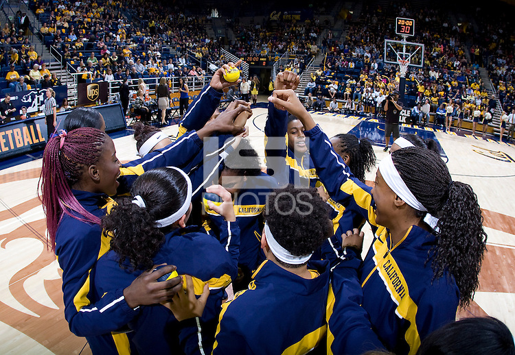 California players huddle together before the game against Duke at Haas Pavilion in Berkeley, California on November 10th, 2013.    Duke defeated California, 70-58.