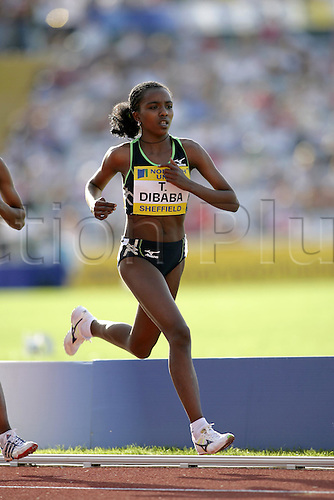 21 August 2005: Ethiopian runner Tirunesh Dibaba (ETH) on her way to victory in the women's 5000m at the Norwich Union British Grand Prix at the Don Valley Stadium, Sheffield Photo: Neil Tingle/Actionplus..050821 athletics woman female women athlete