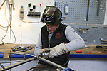 Diel Vaneenooghe welding and sanding a frame at the Jaegher Bikes factory in Ruiselede, Flanders, Belgium. 23rd March 2017.<br /> Picture: Eoin Clarke | Cyclefile<br /> <br /> <br /> All photos usage must carry mandatory copyright credit (&copy; Cyclefile | Eoin Clarke)