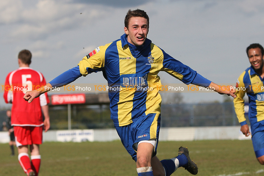 Jamie Dicks of Romford scores a late winning goal and celebrates - Romford vs AFC Sudbury - Ryman League Division One North Football at Mill Field, Aveley FC - 21/04/12 - MANDATORY CREDIT: Gavin Ellis/TGSPHOTO - Self billing applies where appropriate - 0845 094 6026 - contact@tgsphoto.co.uk - NO UNPAID USE.