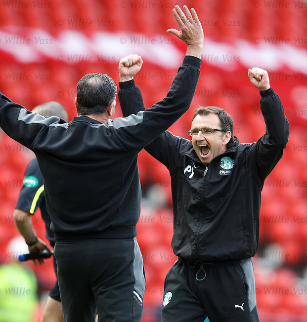 Pat Fenlon celebrates at the final whistle as Hibs book their place in the Scottish Cup Final