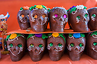 Oaxaca, Mexico, North America.  Chocolate Candy (Sweets) Skulls for Day of the Dead Celebrations.