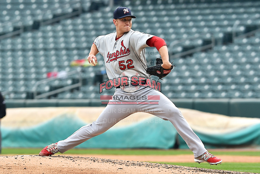 Zach Petrick (52) of the Memphis Redbirds delivers a pitch to the plate against the Salt Lake Bees at Smith's Ballpark on June 18, 2014 in Salt Lake City, Utah.  (Stephen Smith/Four Seam Images)