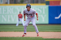 Reading Fightin Phils left fielder Andrew Pullin (17) leads off second base during a game against the Erie SeaWolves on May 18, 2017 at UPMC Park in Erie, Pennsylvania.  Reading defeated Erie 8-3.  (Mike Janes/Four Seam Images)