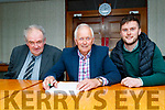 Cllr Brendan handing his nomination to Kerry County Council on Wednesday pictured with Dan O'Sullivan (left) and Kevin Cronin, Director of elections.
