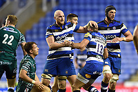 Matt Garvey of Bath Rugby celebrates a turnover with team-mate James Wilson. Aviva Premiership match, between London Irish and Bath Rugby on November 19, 2017 at the Madejski Stadium in Reading, England. Photo by: Patrick Khachfe / Onside Images