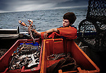 Jack Greenhalgh working aboard the family boat 'Mary D'. Port Isaac, Cornwall, U.K.<br />