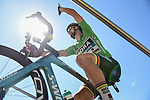 Green Jersey Peter Sagan (SVK) Bora-Hansgrohe at sign on before the start of Stage 5 of the 2018 Tour de France running 204.5km from Lorient to Quimper, France. 11th July 2018. <br /> Picture: ASO/Pauline Ballet | Cyclefile<br /> All photos usage must carry mandatory copyright credit (&copy; Cyclefile | ASO/Pauline Ballet)