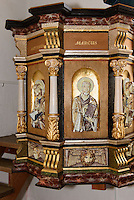 Renaisance-Kanzel (1600)  in der Ibs Kirke in Ibsker auf der Insel Bornholm, D&auml;nemark, Europa<br /> Renaisssnce Pulpit in Ibs Kirke in Ibsker, Isle of Bornholm Denmark