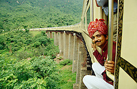 A Steward of the Royal Orient enjoying the views on the picturesque route linking Udaipur and Marwar.