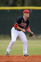 Ball State Cardinals second baseman Ryan Spaulding (5) during a game against the Wisconsin-Milwaukee Panthers on February 21, 2014 at North Charlotte Regional Park in Port Charlotte, Florida.  Ball State defeated Wisconsin-Milwaukee 3-1.  (Mike Janes/Four Seam Images)