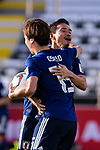 Osako Yuya of Japan celebrates scoring his second goal with teammate during the AFC Asian Cup UAE 2019 Group F match between Japan (JPN) and Turkmenistan (TKM) at Al Nahyan Stadium on 09 January 2019 in Abu Dhabi, United Arab Emirates. Photo by Marcio Rodrigo Machado / Power Sport Images