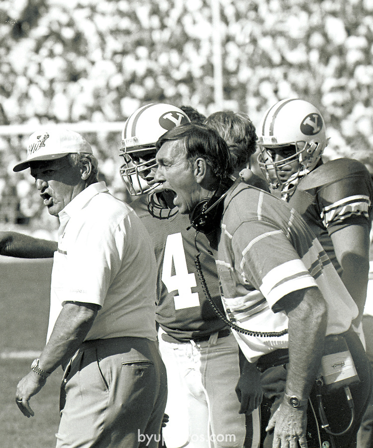 FTB 407 H-28a<br /> <br /> Coach LaVell Edwards. Coach Roger French.<br /> <br /> October 31, 1981<br /> <br /> Photo by Mark Philbrick/BYU<br /> <br /> &copy; BYU PHOTO 2009<br /> All Rights Reserved<br /> photo@byu.edu  (801)422-7322