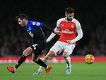 Arsenal's Olivier Giroud tussles with Bournemouth's Adam Smith<br /> <br /> Barclays Premier League- Arsenal vs AFC Bournemouth - Emirates Stadium - England - 28th December 2015 - Picture - David Klein/Sportimage