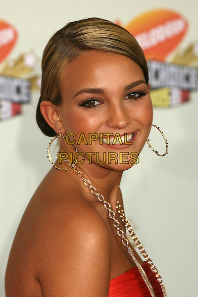 JAMIE LYNN SPEARS.Nickelodeon's 20th Annual Kids' Choice Awards at UCLA's Pauley Pavilion, Westwood, California , USA,  .31 March 2007..portrait headshot gold hoop earrings necklace strapless red orange dress tanned .CAP/ADM/BP.©Byron Purvis/AdMedia/Capital Pictures.