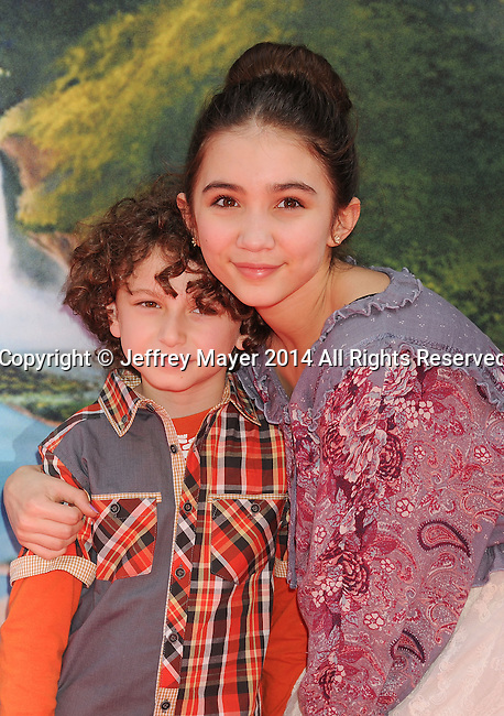 BURBANK, CA- MARCH 22: Actors August Maturo (L) and Rowan Blanchard attend the premiere of DisneyToon Studios' 'The Pirate Fairy' at Walt Disney Studios on March 22, 2014 in Burbank, California.