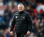 Chris Wilder manager of Sheffield Utd enjoys the crowds acclaim during the Premier League match at Bramall Lane, Sheffield. Picture date: 7th March 2020. Picture credit should read: Simon Bellis/Sportimage