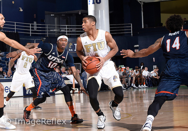 Florida International University guard Kimar Williams (4) plays against UTSA.  FIU won the game 79-65 on February 130, 2016 at Miami, Florida.