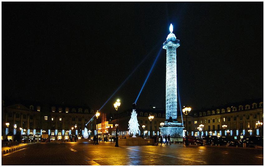 The Place Vendôme, Paris, seen at night during Christmas week