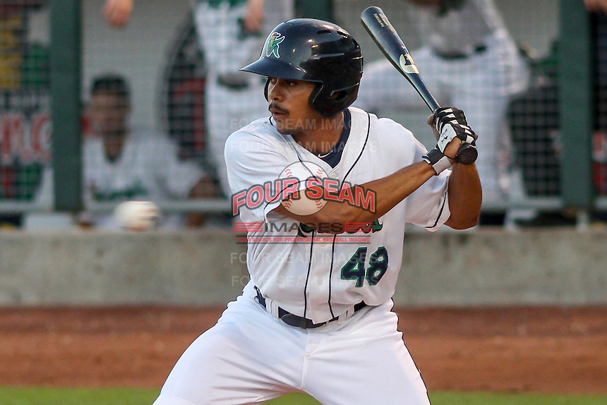 Cedar Rapids Kernels outfielder LaMonte Wade (48) at bat during game five of the Midwest League Championship Series against the West Michigan Whitecaps on September 21st, 2015 at Perfect Game Field at Veterans Memorial Stadium in Cedar Rapids, Iowa.  West Michigan defeated Cedar Rapids 3-2 to win the Midwest League Championship. (Brad Krause/Four Seam Images)