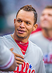 28 April 2016: Philadelphia Phillies second baseman Cesar Hernandez awaits the start of play in the dugout prior to a game against the Washington Nationals at Nationals Park in Washington, DC. The Phillies shut out the Nationals 3-0 to sweep their mid-week, 3-game series. Mandatory Credit: Ed Wolfstein Photo *** RAW (NEF) Image File Available ***