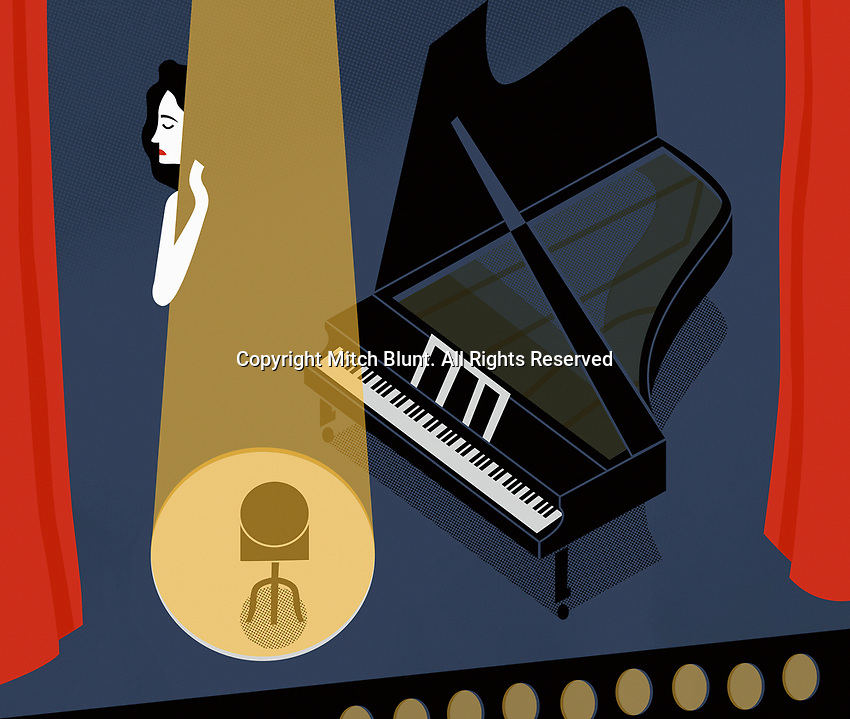 Female piano player having stage fright ExclusiveImage