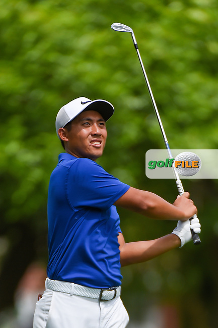 C.T. Pan (TAI) watches his approach shot on 10 during round 1 of the 2019 Charles Schwab Challenge, Colonial Country Club, Ft. Worth, Texas,  USA. 5/23/2019.<br /> Picture: Golffile | Ken Murray<br /> <br /> All photo usage must carry mandatory copyright credit (© Golffile | Ken Murray)