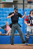 Home plate umpire Louie Krupa calls a batter out on strikes during a game between the Fort Myers Miracle and the Dunedin Blue Jays on April 17, 2018 at Dunedin Stadium in Dunedin, Florida.  Dunedin defeated Fort Myers 5-2.  (Mike Janes/Four Seam Images)