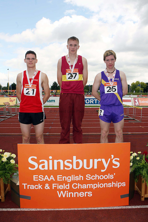 Photo: Rich Eaton/Sportsbeat Images.....Sainsbury's English Schools Track and Field Championships, Birmingham. 14/07/2007. Senior boys 800m winners l-r bronze Michael Cole of Devon, gold James Shane of Essex and silver Andrew Stanton of Durham