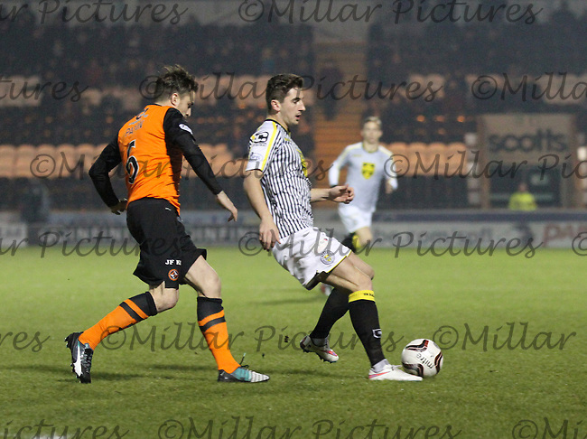 Kenny McLean being closed down by Paul Paton in the St Mirren v Dundee United Scottish Professional Football League Premiership match played at St Mirren Park, Paisley on 21.1.15.