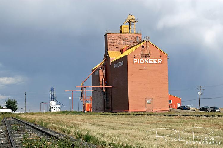 Grain elevator and railroad tracks in Rosetown, Saskatchewan.
