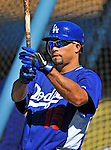 22 July 2011: Los Angeles Dodgers shortstop Rafael Furcal awaits his turn in the batting cage prior to a game against the Washington Nationals at Dodger Stadium in Los Angeles, California. The Nationals defeated the Dodgers 7-2 in their first meeting of the 2011 season. Mandatory Credit: Ed Wolfstein Photo