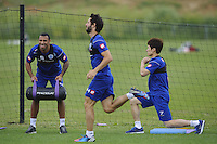 Anton Ferdinand , Ji-Sung Park and Esteban Granero of QPR in training