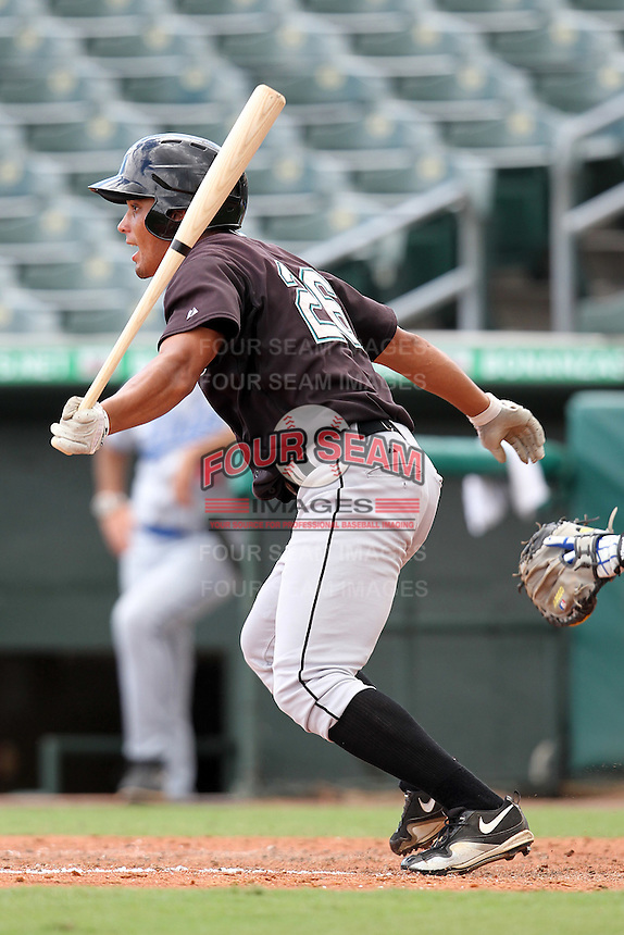 Jhiomar Veras #26 of the Florida Marlins instructional League team during a game against the Italian National Team at the Roger Dean Stadium in Jupiter, Florida;  September 27, 2011.  Italy is training in Florida for the Baseball World Cup.  (Mike Janes/Four Seam Images)