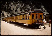 8 passsenger coaches and baggage car in Silverton.<br /> D&amp;RGW  Silverton, CO