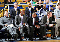 Florida International University Head Coach Isiah Thomas and his assistant coaches during the game against Florida Atlantic University, which won the game 66-64 on January 21, 2012 at Miami, Florida. .