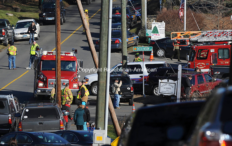 NEWTOWN, CT 14 DECEMBER- 121412JS14-Emergency personnel were on the scene following a deadly shooting at Sandy Hook Elementary School in the Sandy Hook section in Newtown. .Jim Shannon Republican American