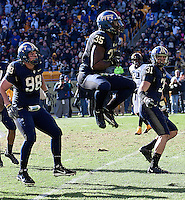 Pitt defensive end Brandon Lindsey (35) celebrates a tackle. Also shown are Chas Alecxih (98) and Dom DeCicco (31). The WVU Mountaineers defeated the Pitt Panthers 35-10 at Heinz Field, Pittsburgh, Pennsylvania on November 26, 2010.