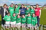 WINNERS: The girls from Ballyduff Central National School who were the winners in the Girls INTO Mini 7s County Schools football finals at Austin Stack Park, Tralee, on Tuesday. Front l-r: Sarah Treacy, Danielle Robinson, Megan O'Connor, Gemma Griffin, Marian Dowling and Helen Dowling. Back l-r: Marie Lucid (teacher), Shauna Kissane, Nicole O'Connor, Michaela O'Rourke, Lauren Fitzmaurice, Clodagh Walsh and Bridget O'Connor (teacher).   Copyright Kerry's Eye 2008
