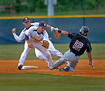 Buckhorn's Colby Crutcher celebrates as Garrett Sloman waits to tag Sparkman's Sam Tralango stealing second for the last out of the game.  Buckhorn vs. Sparkman baseball at Buckhorn High School. (The Huntsville Times/Bob Gathany)