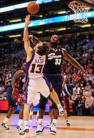 Dec. 21, 2009; Phoenix, AZ, USA; Cleveland Cavaliers center Shaquille O'Neal fouls Phoenix Suns guard (13) Steve Nash at the US Airways Center. Cleveland defeated Phoenix 109-91. Mandatory Credit: Mark J. Rebilas-