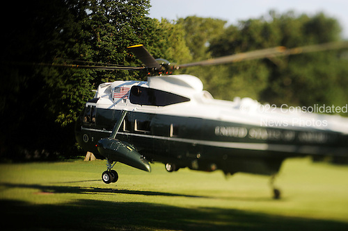 Marine One  with United States President Barack Obama aboard lands on the White House South Lawn after arriving from a day trip to Racine, Wisconsin on Wednesday, June 30, 2010 in Washington, DC..Credit: Olivier Douliery / Pool via CNP
