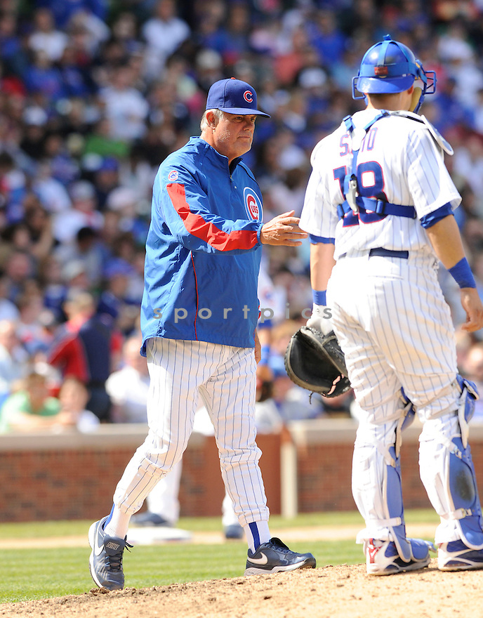LOU PINIELLA, of the Chicago Cubs, in action during the Cubs game against the Arizona Diamondbacks at  Wrigley Field in Chicago, IL  on April 29, 2010...The Arizona Diamondbacks  win 13-5.