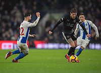 Burnley's Jeff Hendrick (centre) under pressure from Brighton & Hove Albion's Martin Montoya (left) <br /> <br /> Photographer David Horton/CameraSport<br /> <br /> The Premier League - Brighton and Hove Albion v Burnley - Saturday 9th February 2019 - The Amex Stadium - Brighton<br /> <br /> World Copyright © 2019 CameraSport. All rights reserved. 43 Linden Ave. Countesthorpe. Leicester. England. LE8 5PG - Tel: +44 (0) 116 277 4147 - admin@camerasport.com - www.camerasport.com