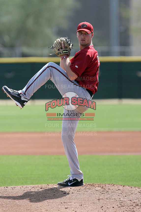 Tyler Green #10 of the Arizona Diamondbacks pitches in a minor league spring training game against the Los Angeles Angels at the Angels minor league complex on March 17, 2011  in Tempe, Arizona. .Photo by:  Bill Mitchell/Four Seam Images.