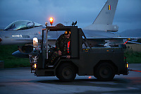 Ground crew and Lockheed Martin F-16 Fighting Falcon Lockheed Martin F-16 Fighting Falcon from Belgian Air Force 349 squadron. BOLD AVENGER 2007 (BAR 07), a NATO  air exercise at Ørland Main Air Station, Norway. BAR 07 involved air forces from 13 NATO member nations: Belgium, Canada, the Czech Republic, France, Germany, Greece, Norway, Poland, Romania, Spain, Turkey, the United Kingdom and the United States of America. The exercise was designed to provide training for units in tactical air operations, involving over 100 aircraft, including combat, tanker and airborne early warning aircraft and about 1,450 personnel.
