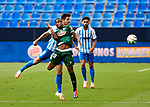 Claudio Beauvue (RC Deportivo de la Coruna) and Adrian Gonzalez (Malaga CF) competes for the ball during La Liga Smartbank match round 39 between Malaga CF and RC Deportivo de la Coruna at La Rosaleda Stadium in Malaga, Spain, as the season resumed following a three-month absence due to the novel coronavirus COVID-19 pandemic. Jul 03, 2020. (ALTERPHOTOS/Manu R.B.)