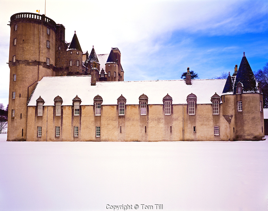 Heavy Winter Snows at Castle Fraser, near Dunecht, Aberdeenshire, Scotland, United Kingdom